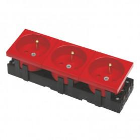 Gniazdo zasilania DATA czerwone 3x(2P+T) 6 MOD