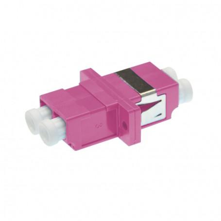 Adapter LC MM duplex fioletowy (Erika Violet) OM4 (z flanszą)