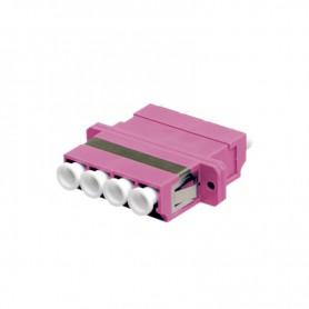 Adapter LC MM quad (poczwórny) fioletowy (Erika Violet) OM4 (z flanszą)