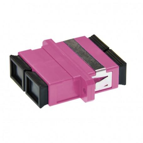 Adapter SC MM duplex fioletowy (Erika Violet) OM4 (z flanszą)