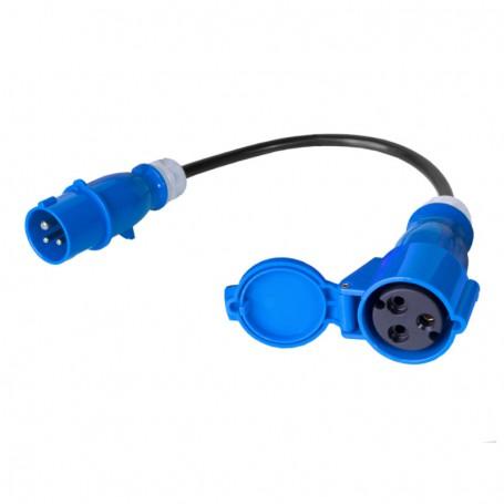 Kabel zasilajacy/adapter - gniazdo IEC 60309 32A/250V, wtyk IEC 60309 16A/250V, 3x2.5mm2 czarny 0,3m