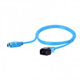 Kabel zasilający - gniazdo IEC320 C13 10A wtyk IEC320 C14 10A 3x1,0mm2 niebieski  1m