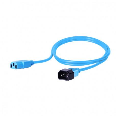 Kabel zasilający - gniazdo IEC320 C13 10A wtyk IEC320 C14 10A 3x1,0mm2 niebieski  2m
