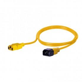 Kabel zasilający - gniazdo IEC320 C13 10A wtyk IEC320 C14 10A 3x1,0mm2 żółty  1m