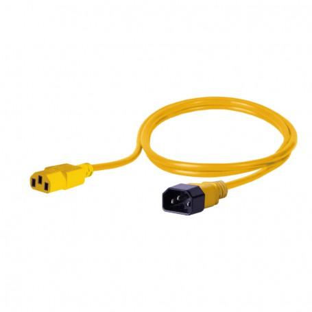 Kabel zasilający - gniazdo IEC320 C13 10A wtyk IEC320 C14 10A 3x1,0mm2 żółty  2m
