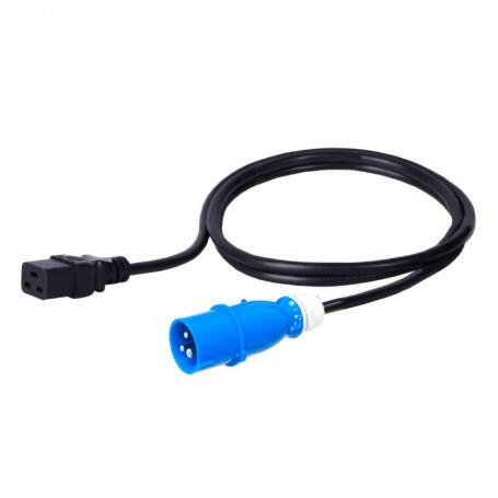 Kabel zasilający - gniazdo IEC320 C19 16A wtyk IEC 60309 16A 3x1,5mm2 czarny  2m