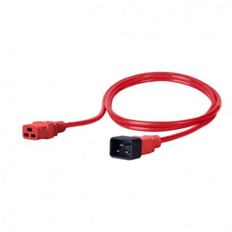 Kabel zasilający - gniazdo IEC320 C19 16A wtyk IEC320 C20 16A 3x1,5mm2 czerwony  2m