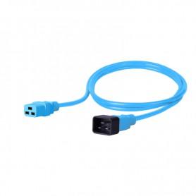 Kabel zasilający - gniazdo IEC320 C19 16A wtyk IEC320 C20 16A 3x1,5mm2 niebieski  1,5m