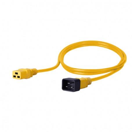 Kabel zasilający - gniazdo IEC320 C19 16A wtyk IEC320 C20 16A 3x1,5mm2 żółty  1,5m