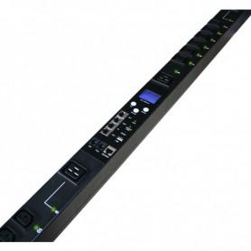 """Listwa zarządzalna 19"""" 1U BKT RPDU typ D 8xIEC320 C13 wtyk DIN49441(unischuko) 16A/250V 2xTemp/Wilg 1x16A wył nadprad"""