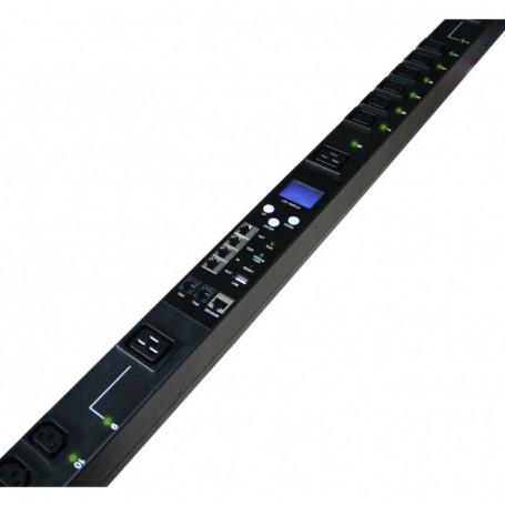 Listwa zarządzalna pionowa BKT RPDU typ D 18xIEC320 C13 + 6xIEC320 C19 wtyk IEC 60309 32A/400V 2xTemp/Wilg 3x32A wył nadprąd