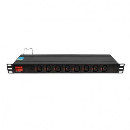 """Listwa zasilająca BKT DUAL 19"""" 1U p:8xIEC 320 C13 (blokada) t:8xIEC 320 C13 (blokada) amp/volt bezp.16A wtyk IEC320 C20 16A/250V"""